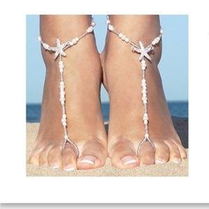 Barefoot Sandals White Beads Starfish